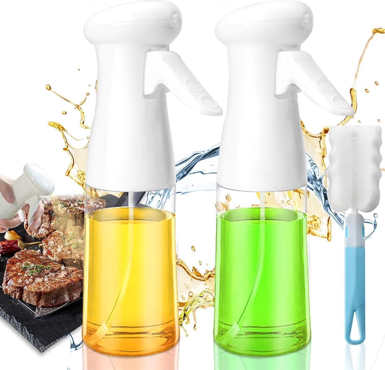 Oil Sprayers for Cooking,2 PACK Olive Oil Sprayer 200ML Spray Bottles Dispenser with Brush Reusable Versatile Mister Bottle Food-Grade Plastic Sprayer for Kitchen Cooking Air Fryer BBQ Baking Roasting