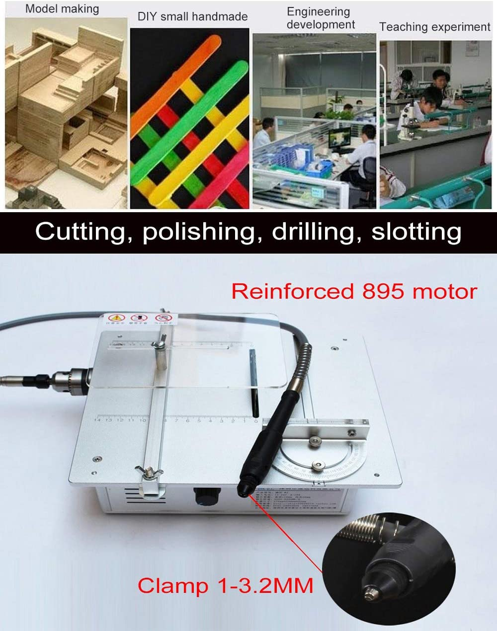 110-240 V Tischkreiss/äge//Holzbearbeitung DIY Modell Schneidemaschine Elektrische Polierer Grinder//DIY Modellschneids/äge B12 Bohrfutter Luxus Silber