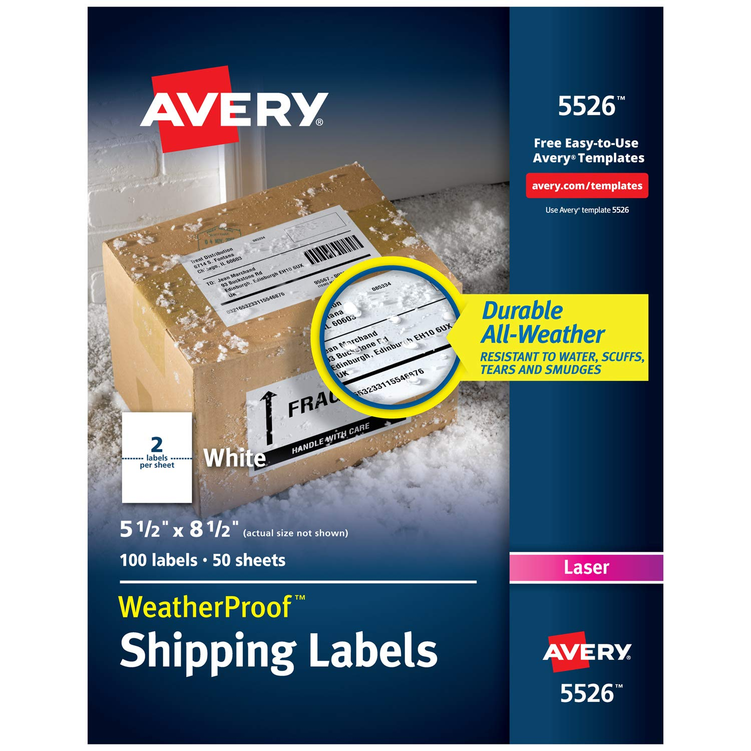 Avery WeatherProof Mailing Labels with TrueBlock Technology for Laser Printers 5-1/2'' x 8-1/2'', Box of 100 Labels (5526), White by Avery