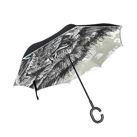 COOSUN Capa extracto grande africano macho doble león del paraguas invertido inversa para el coche y