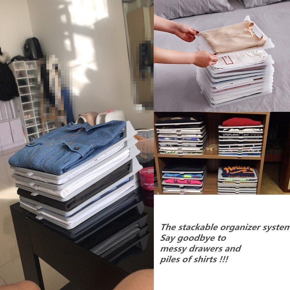 T-MIX Armario Organizador Ropa Ropa//Camiseta Carpeta de Ropa Interior Large Tray 10-Pack