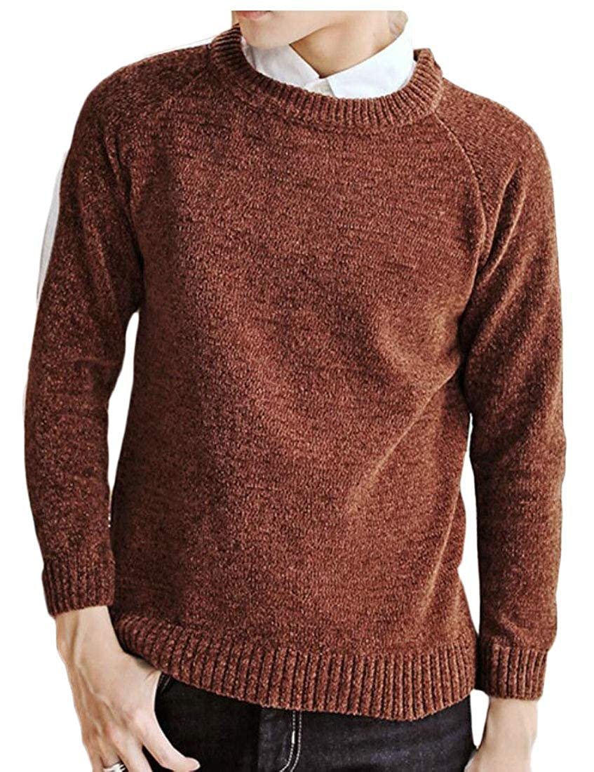 omniscient Men Knitted Crew Neck Long Sleeve Loose Winter Warm Pullover Sweater Tops