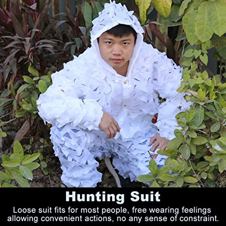 1e5f052da877e Amazon.com : VGEBY Hooded Ghillie Suit, White Hunting Suit, 3D Outdoor  Hunting Jacket with Pants : Sports & Outdoors
