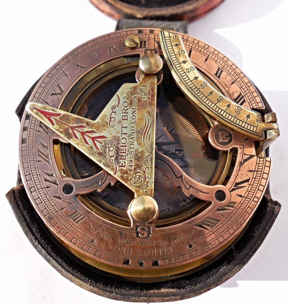 MAH Maritime Antiques Nautical Reproduction Brass Box Sundial Compass -Drum Sundial Stamp Leather Box. C-3020