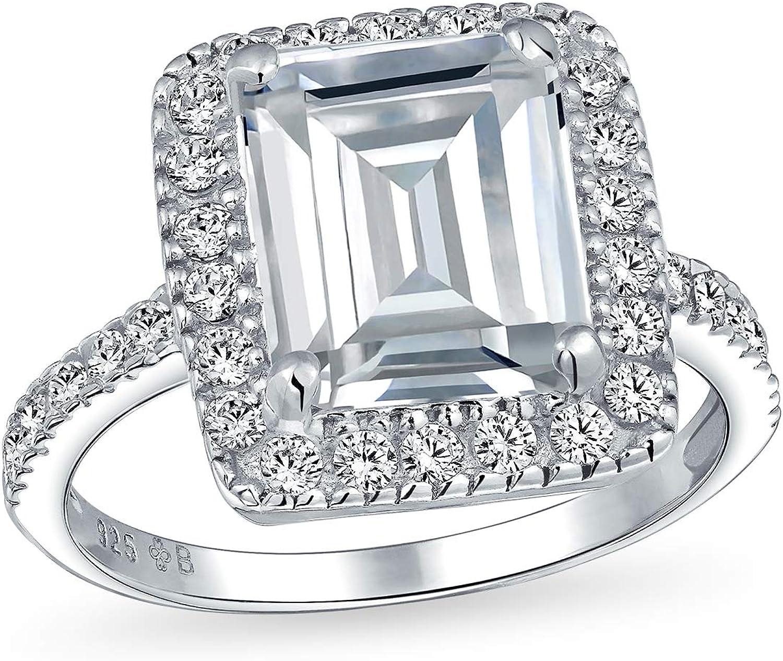 Bling Jewelry Estilo Art Deco Gran Declaración Halo Allanar Zirconio Cúbico 925 5Ct Talla Esmeralda Anillo De Compromiso para Mujer