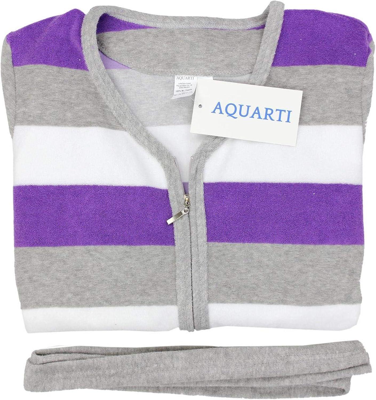 Aquarti Peignoir /à Rayures avec Fermeture /éclair Femme