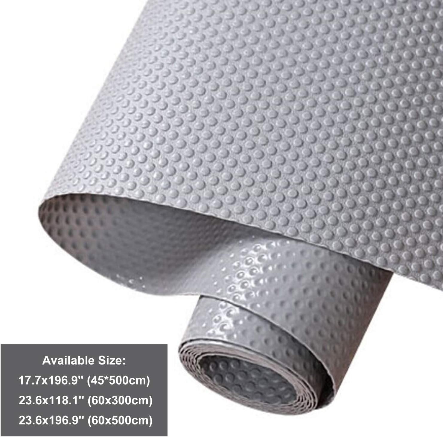 Hersvin Shelf Liners, 11.8x118.1 Inch EVA Non-Slip Drawer Mats, Non-Adhesive Cupboard Pad, Kitchen Cabinet Lining Fridge Cushion for Home Office (Gray/Dot, 30x300cm)