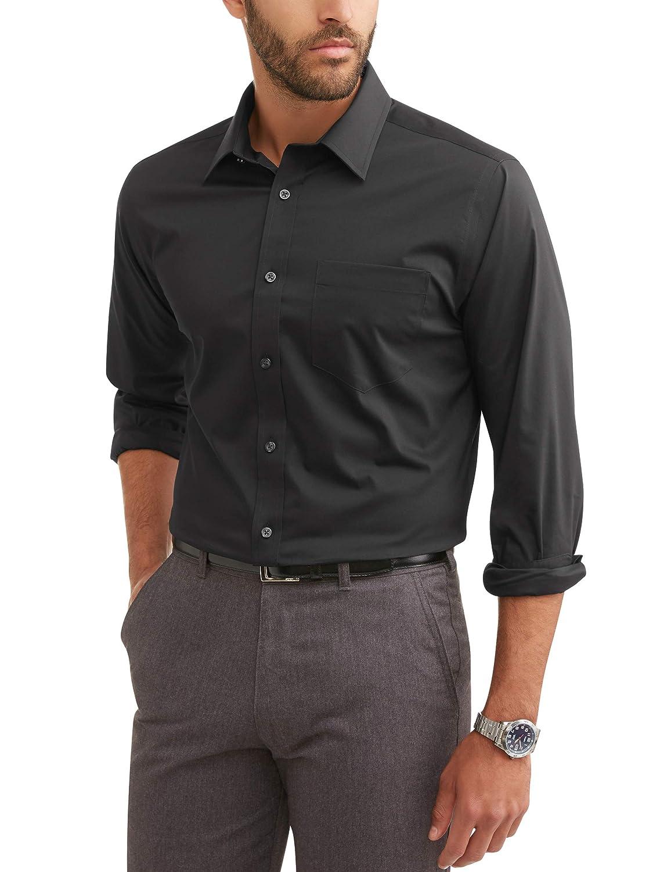 Classic Fit Black, 2XL, XXL, Neck 18-18.5, Sleeve 37-38, Chest 50-52 George Mens Long Sleeve Performance Dress Shirt