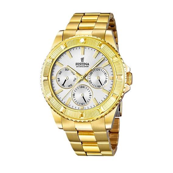 Festina F16693/1 - Reloj de cuarzo para hombre, con correa de acero inoxidable, color dorado: Festina: Amazon.es: Relojes