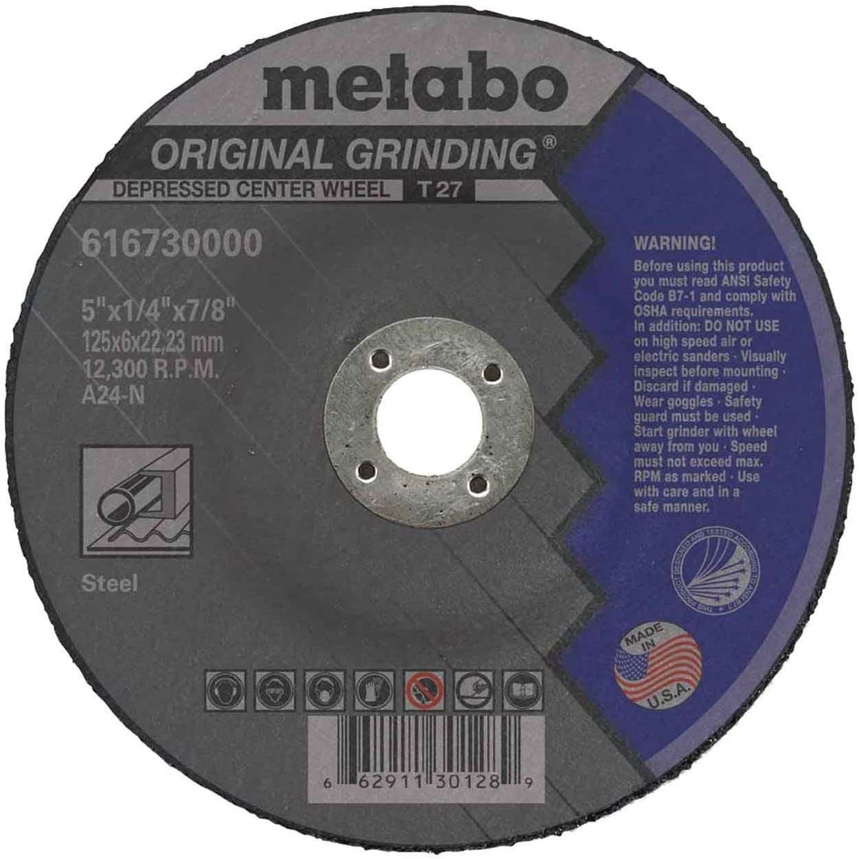 25 pack Metabo 616730000 5 x 1//4 x 7//8 Original Depressed Center Grinding Wheel