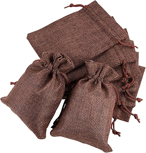 Imagen deBENECREAT 30 PCS Bolsas de Arpillera con Cordón Envase de Regalo Color Marrón de Perú para Fiesta Boda y Almacenamiento de Cosas Pequeñas 14.3x10.5cm