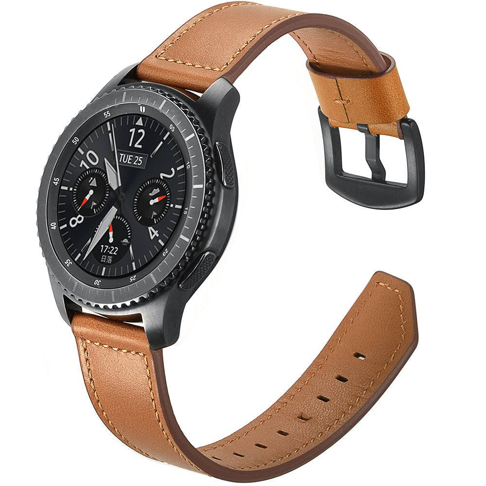 Aottom Gear S3 Frontier Bands, [22MM] Samsung Gear S3 Classic Leather Band Replacement Band Wrist Band Stainless Steel Buckle Bracelet Wristband for Samsung Gear S3/Moto 360 2nd Gen 46mm - Brown by Aottom