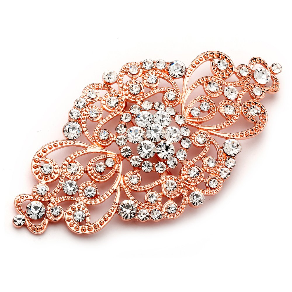 Mariell Vintage Rose Gold Bridal Crystal Brooch Pin - Blush Rose Gold Rhinestone Wedding & Fashion Glam 4574P-RG