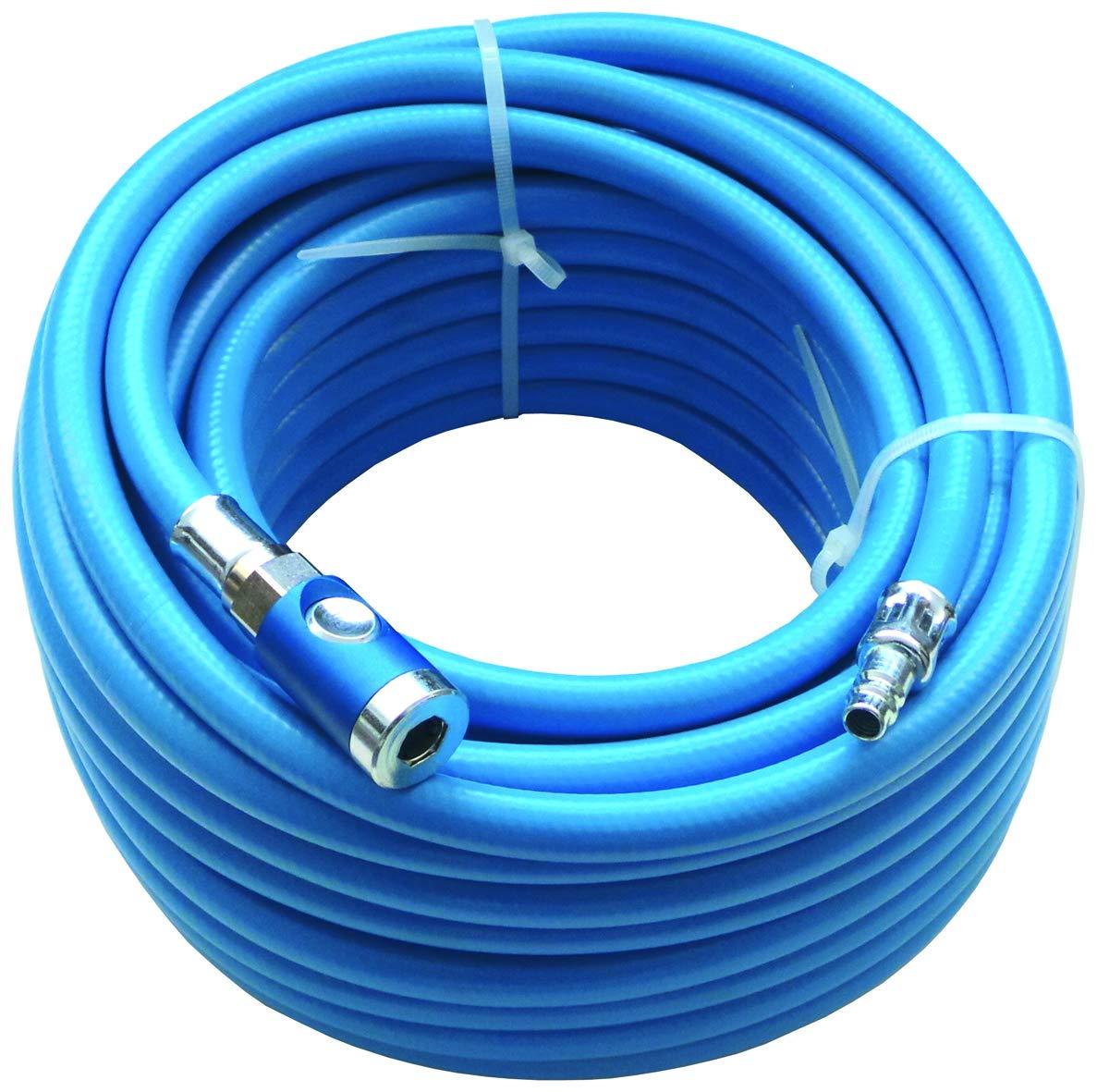 ewo PVC Druckluftschlauch SOFT komplett montiert mit DN 7,4 Druckknopf-Sicherheitskupplung und Stecker Stahl 10 m 9 x 2,75 mm