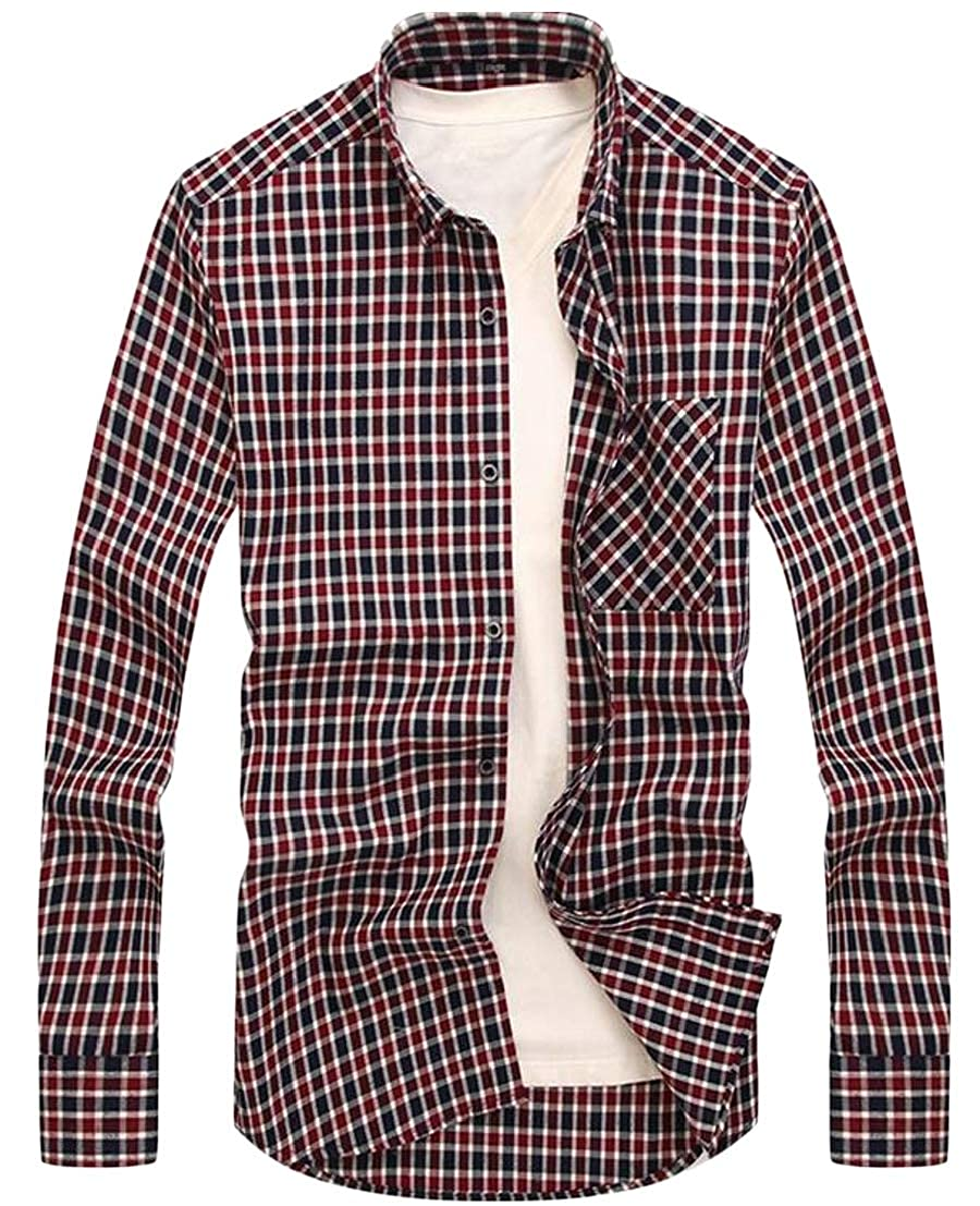 Generic Mens Basic Style Long Sleeve Plaid Checked Button Down Shirts