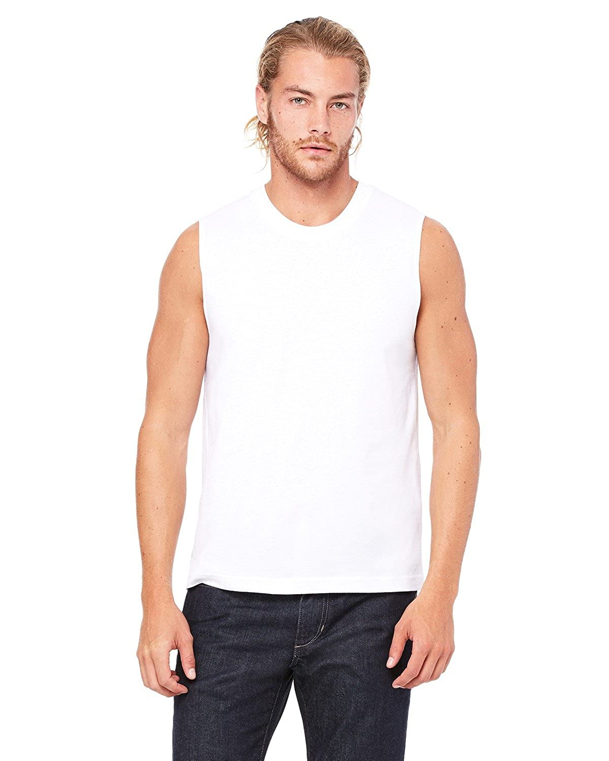 150434b6a13b5 By Bella + Canvas Unisex Jersey Muscle Tank - White - S - (Style   3483 -  Original Label) at Amazon Men s Clothing store