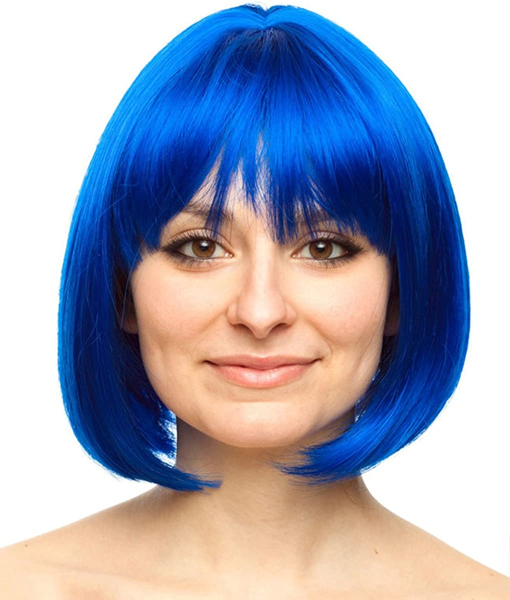 One Size Costume Adventure Colorful Page Boy Bob Character Costume Wig