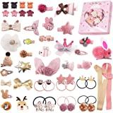 48PCS Baby Girls Hair Accessories Set Baby Hair Clips Fully Lined Cute Hair Bows Clips Elastic Hair Bands Bow Hair Ties…