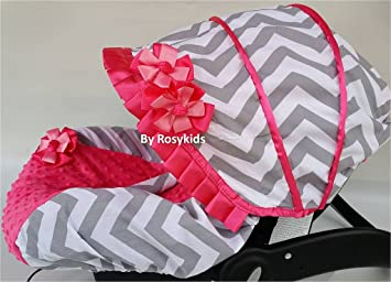 Rosy Kids Infant Carseat Canopy Cover 3 Pc Whole Caboodle Baby Car Seat Kit Cotton