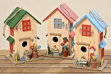 Casa Del Pájaro Casita Para Pájaros Azul Caja Nido Madera Decoración H26cm: Amazon.es: Jardín