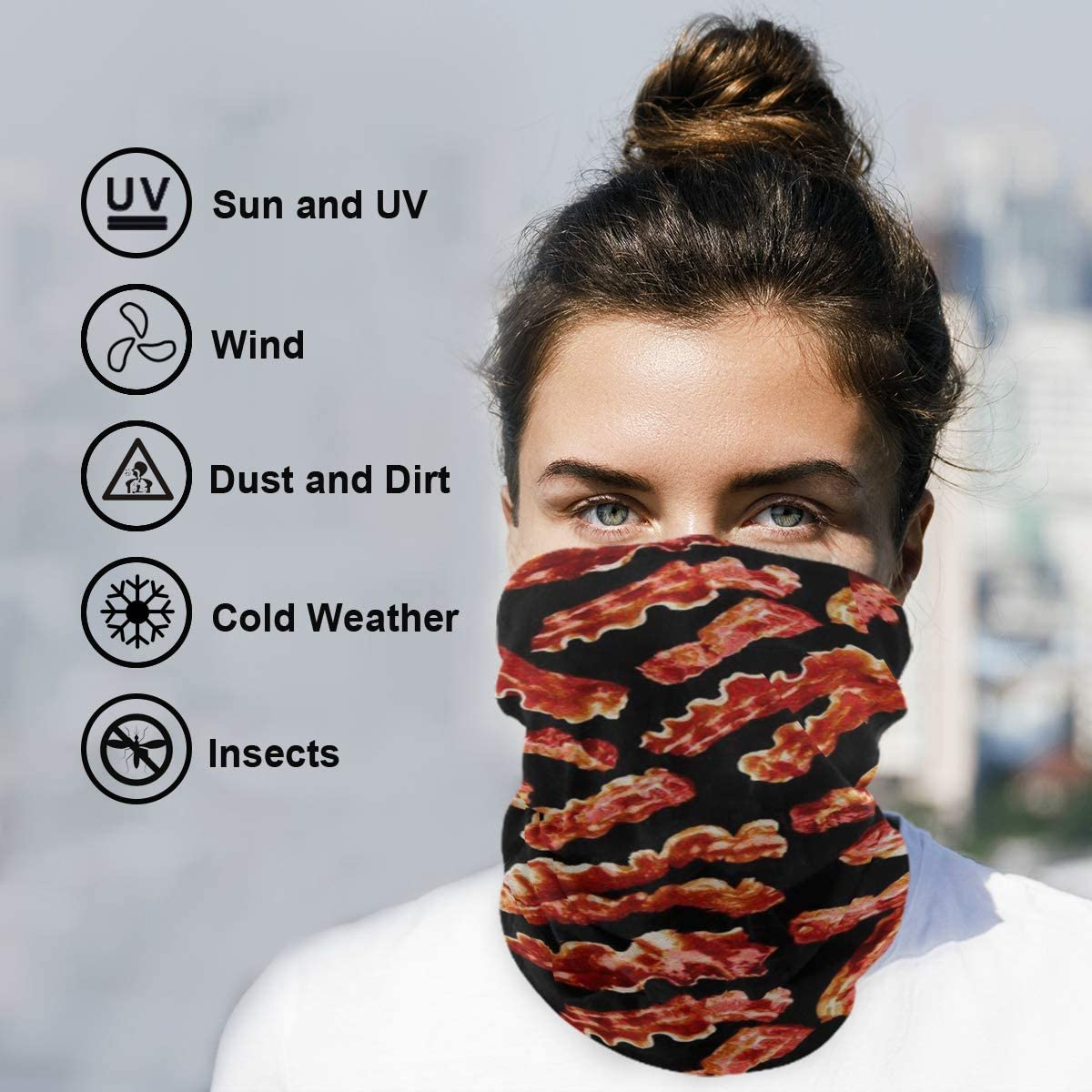 Neck Gaiter Face Shields for Men Women Bacon NANAEN Bandana Face Mask Rave Face Mask Balaclava