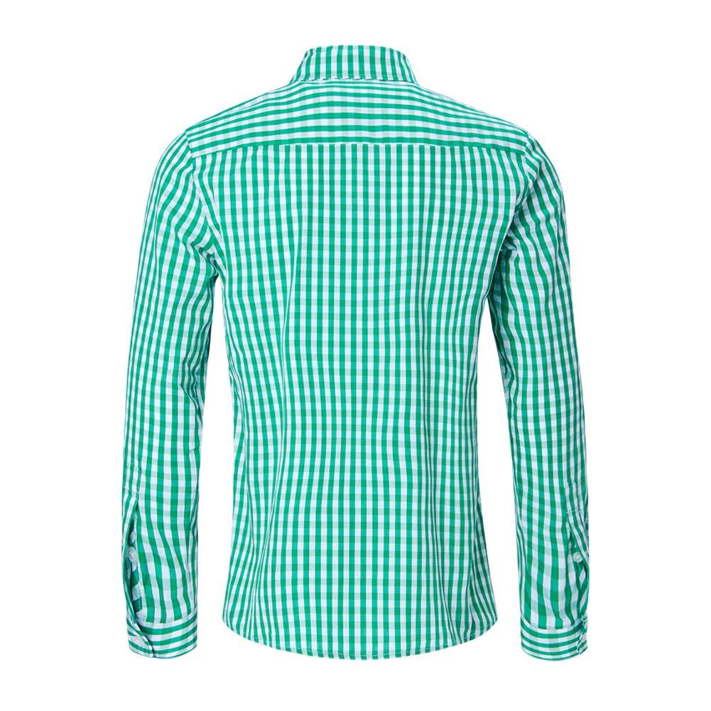 RAISEVERN Mens Chest Pockets Camicia a Maniche Lunghe in Misto Cotone a Maniche Lunghe