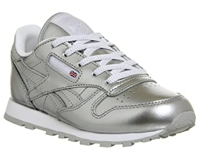 Reebok Girls  Classic Leather Metallic Running Shoes Silver Size  1UK Child ee25fe546
