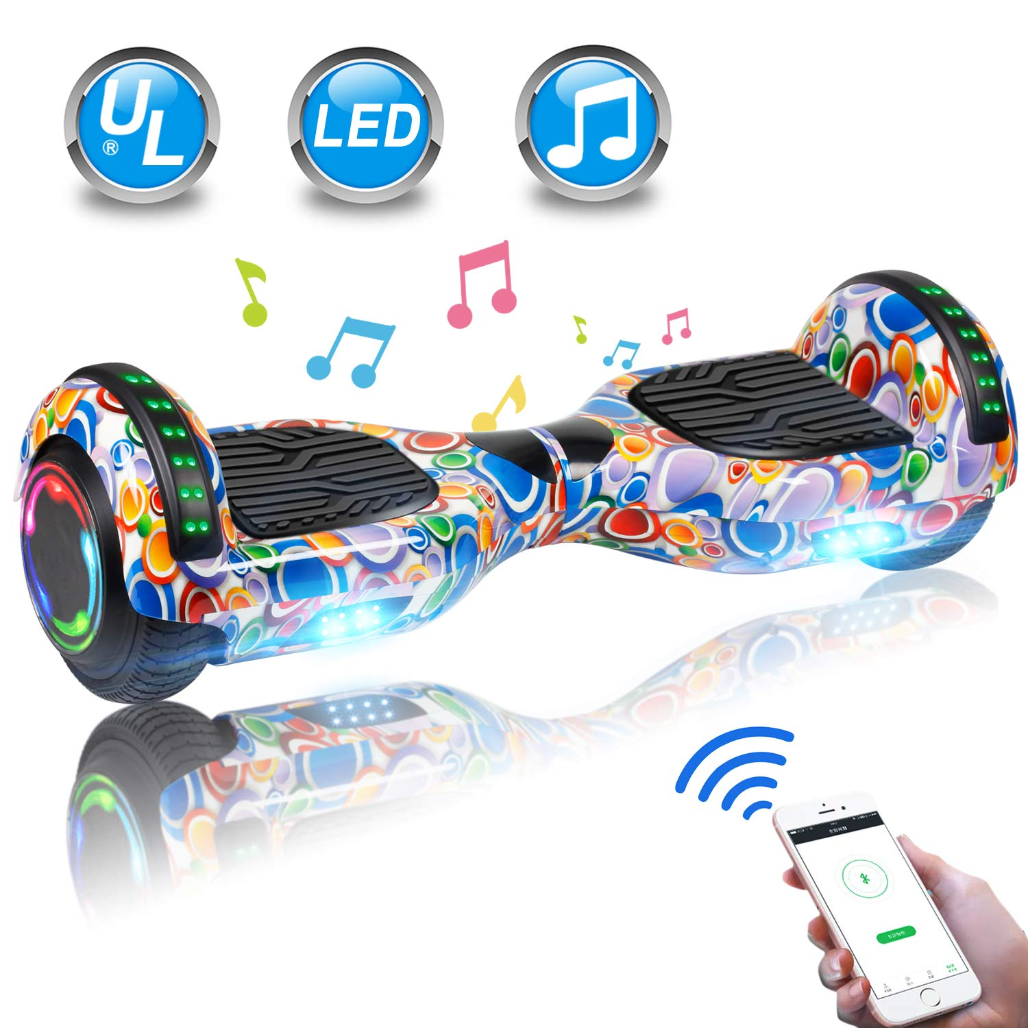 UNI-SUN 6.5 Hoverboard for Kids, Two Wheel Electric Scooter, Self Balancing Hoverboard with Bluetooth and LED Lights for Adults, UL 2272 Certified Hover Board Colorful Bubbles