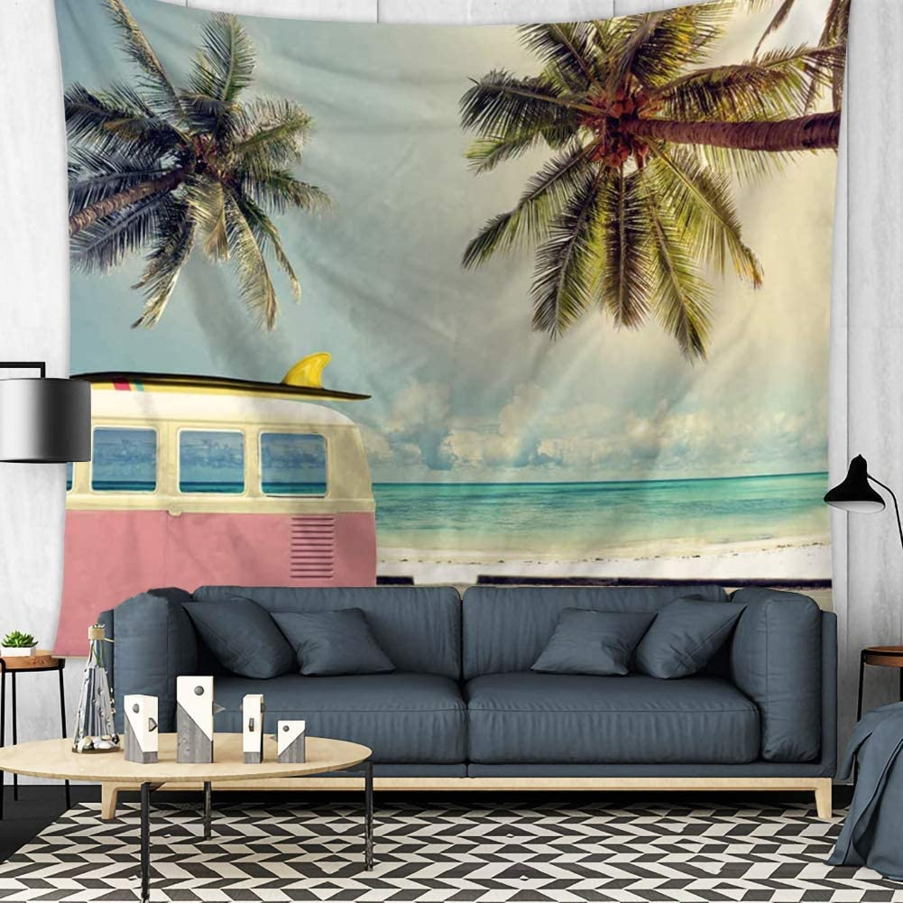 Beach Tapestry Retro Summer Vacation Surf Theme Wall Hanging Ocean Beach Palm Tree Coconut tree Bus Minivan Tapestry Home Decor Art Sets (2, 78Wx59L)