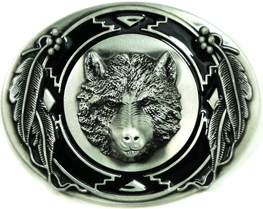 Pewter Belt Buckle animal Wolf Heads NEW