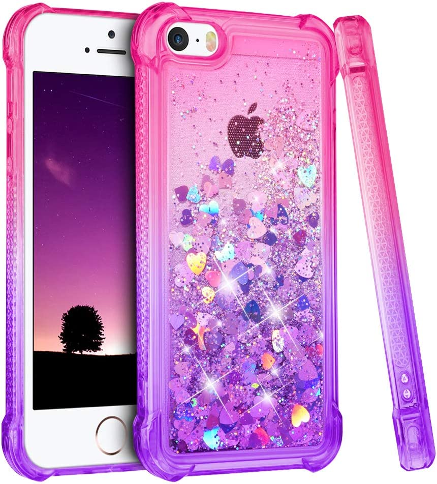 Ruky iPhone 5 5S Case, iPhone SE Case for Girls (2016), Gradient Quicksand Series Glitter Bling Flowing Liquid Floating TPU Bumper Cushion Girls Women Cute Case for iPhone 5 5S SE (Pink Purple)