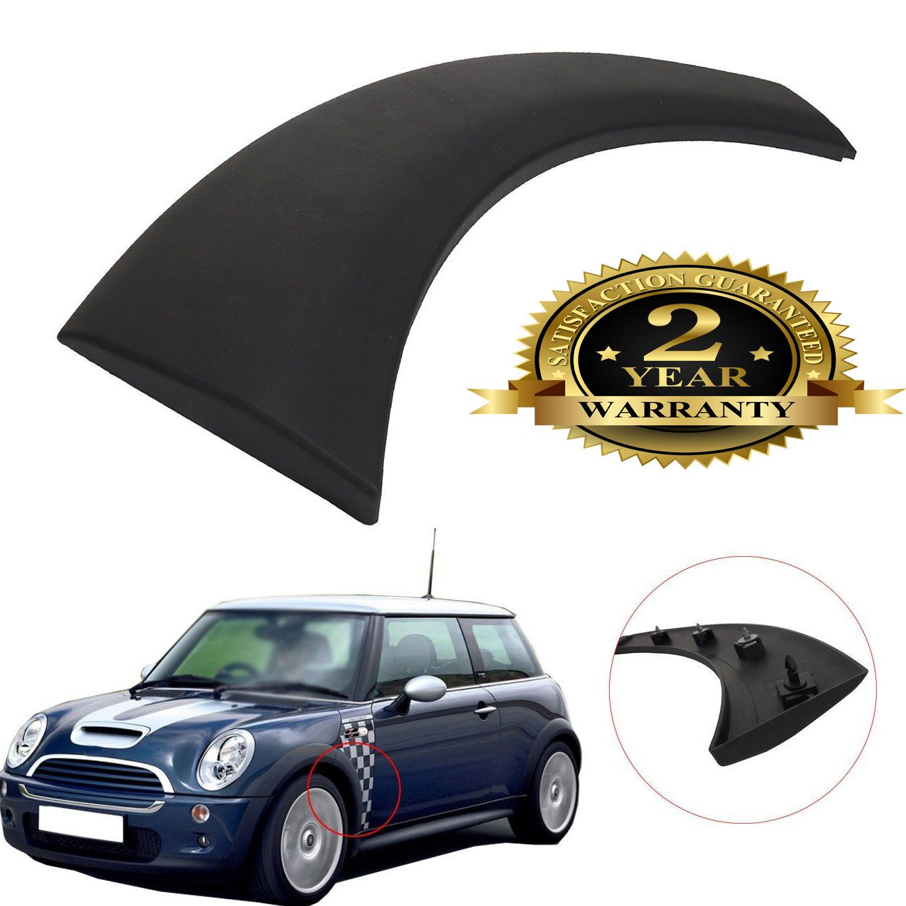 Wheel Arch Trim Cover for Mini Cooper Fender Flares Fender Mud Flaps Clips for One D Cooper S R50 R52 R53 2002 to 2008 Front Left