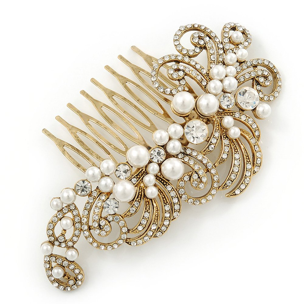 Avalaya Vintage Inspired Bridal/Wedding/Prom/Party Gold Tone Clear Crystal, Simulated Pearl 'Feather' Side Hair Comb - 100mm by Avalaya