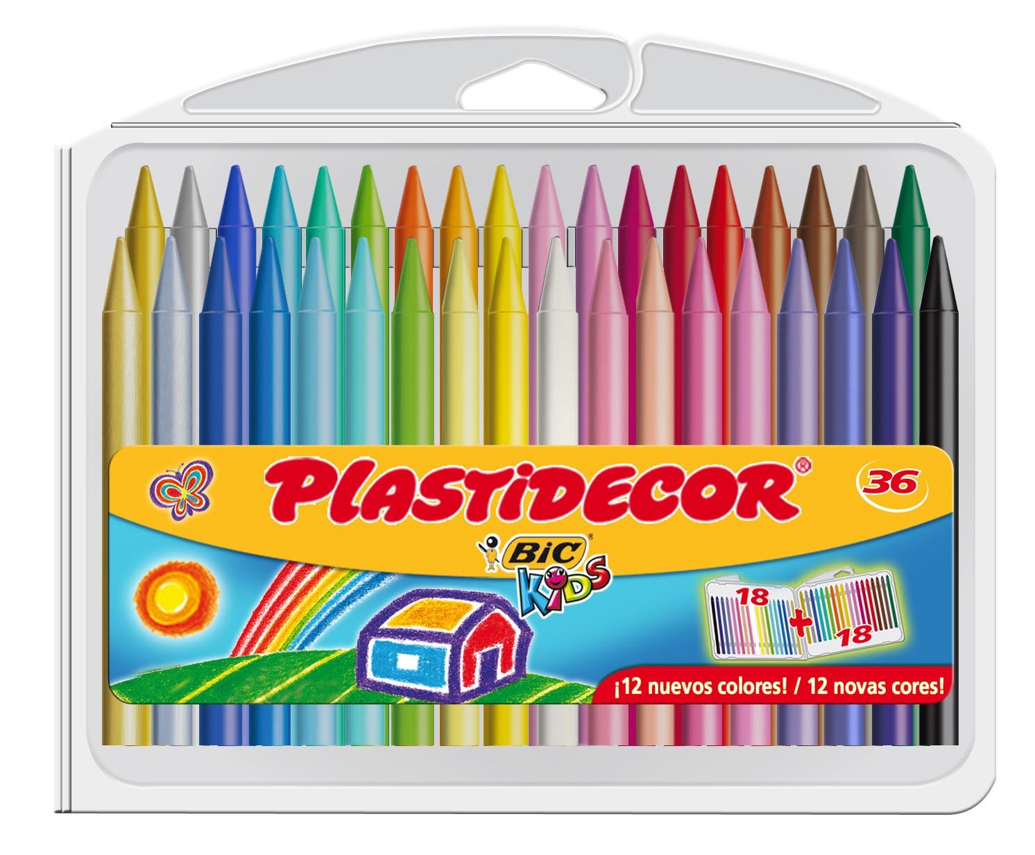 BIC Kids Plastidecor - Pack de 36 ceras para colorear 882337