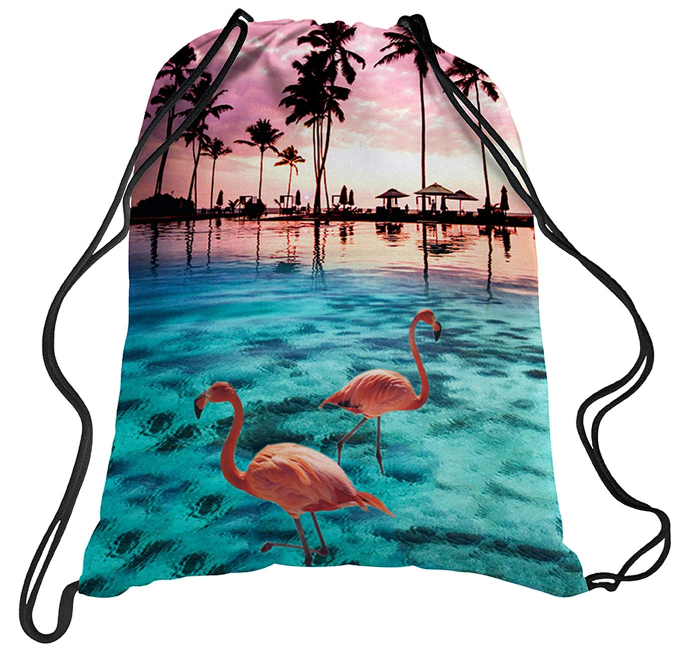TUONROAD Childrens Travel Hiking School Drawstring Backpack 3d Custom Prints Lightweight Vacation Holiday Beach Theme Palm Tree Pink Flamingo Light Blue Seawater Sunset Glow Cute String Sack Pack