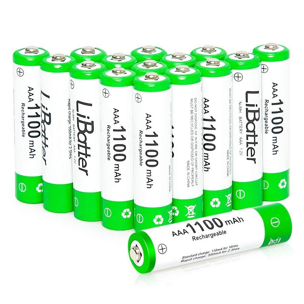 LiBatter AAA 1100mAh Ni-MH Rechargeable Batteries(16Packs)