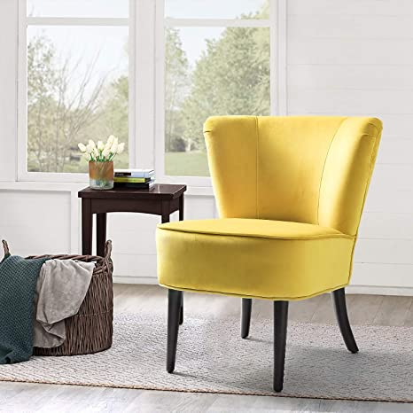 Fine Yellow Upholstered Velvet Accent Chair Emille Armless Wingback Chair Good For Small Space Sunrise Yellow Squirreltailoven Fun Painted Chair Ideas Images Squirreltailovenorg