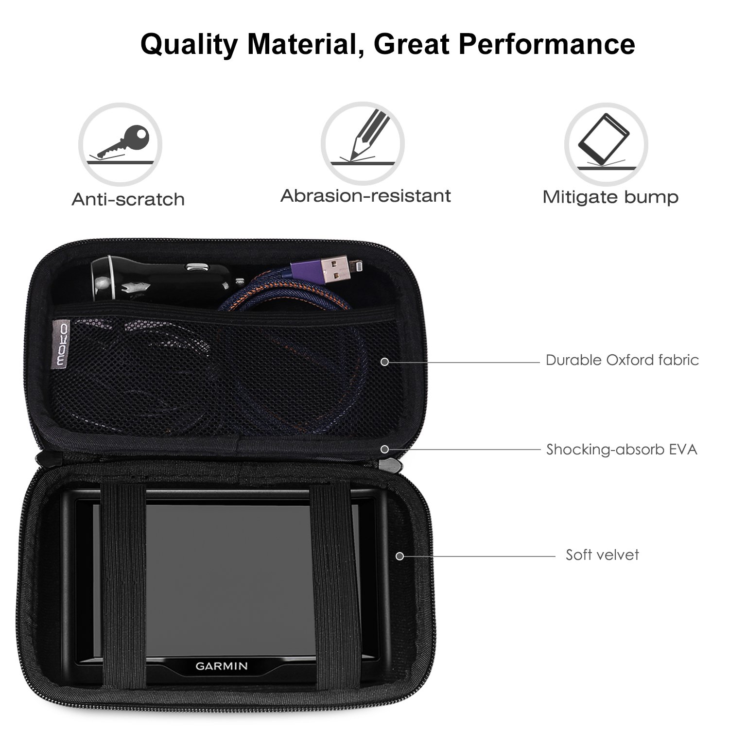 Portable Hard Shell Protective Pouch Storage Bag for Car GPS Navigator Garmin//Tomtom//Magellan with 7 Display MoKo 7-Inch GPS Carrying Case Space Gray