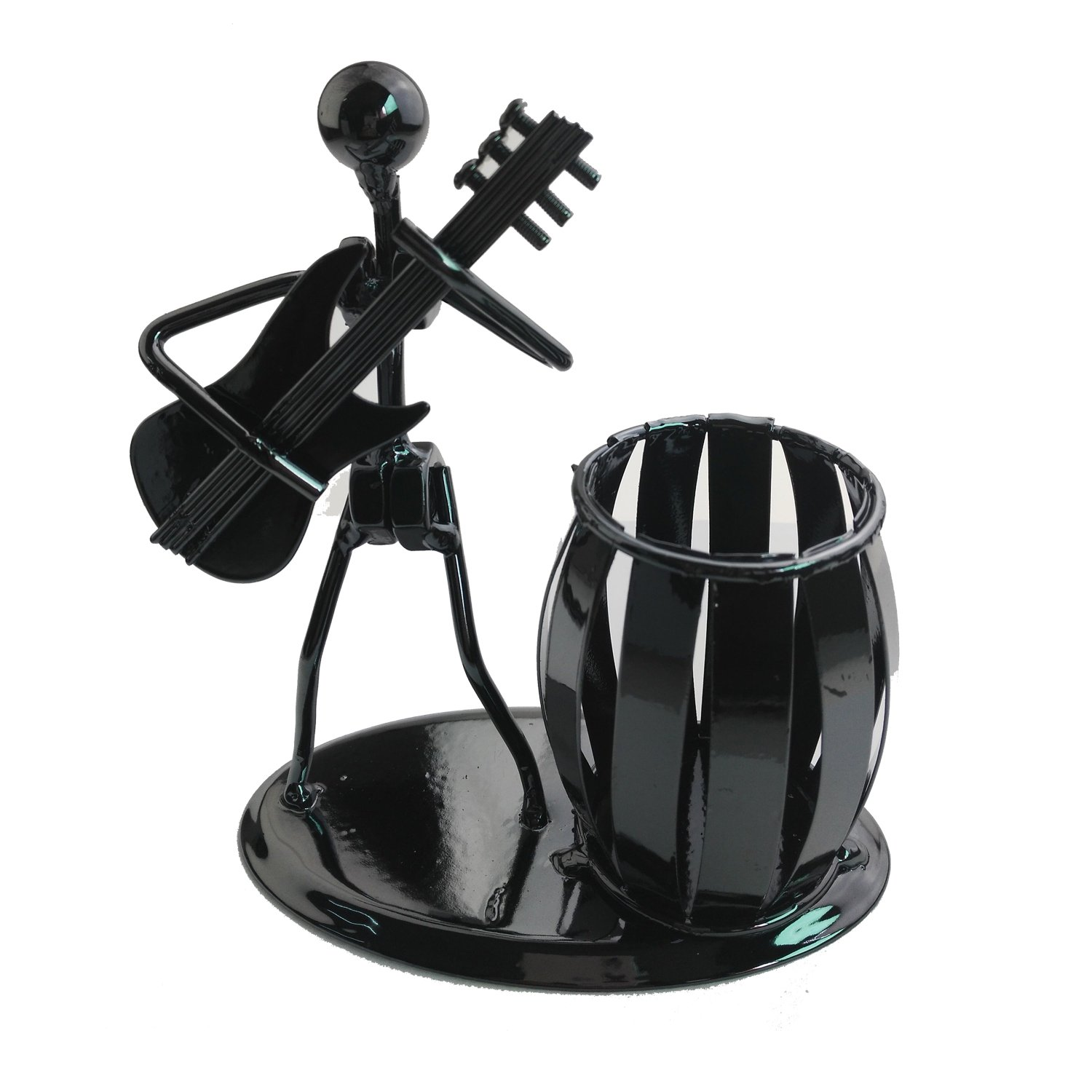 Recycled Metal Art Hand-made Pen Holder with a Guitarist Figure Playing Music - Decorative Desk Organizer Office Space Supply Multipurpose Pen Pencil Holder Gracallet AX-AY-ABHI-106766