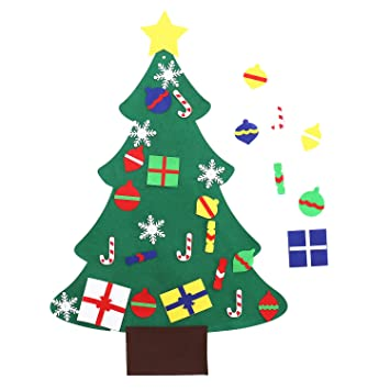 Toddler Christmas Tree.Felt Christmas Tree With 25 Pcs Detachable Ornaments For Kids Toddler 3ft Diy Xmas Crafts Christmas Hanging Classroom Wall Decor