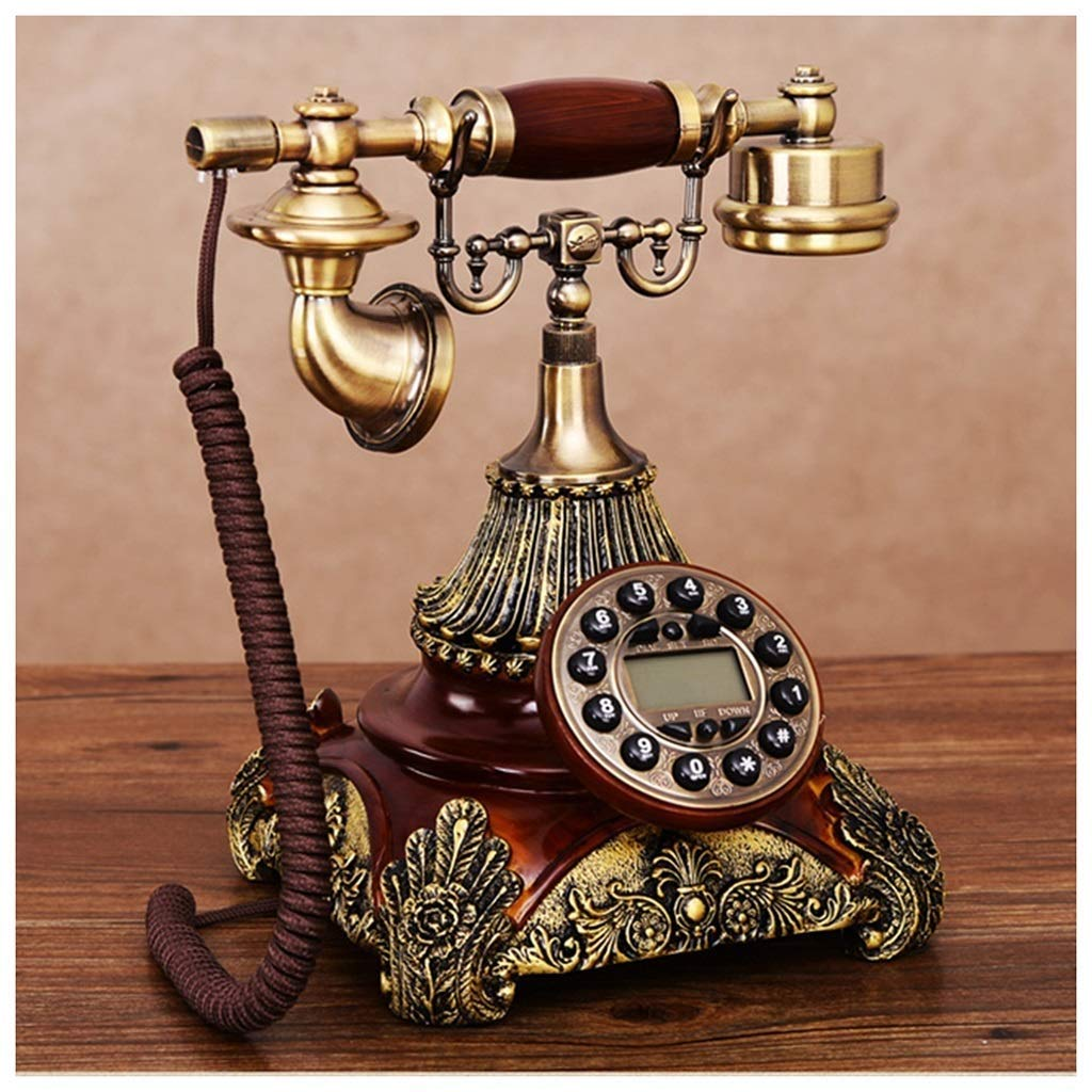 Retro Phone Old Single Double Ring Phone Embossed Resin Fashion Antique Telephone European Retro Cloth Rope Wired Creative Telephones (Size : B)