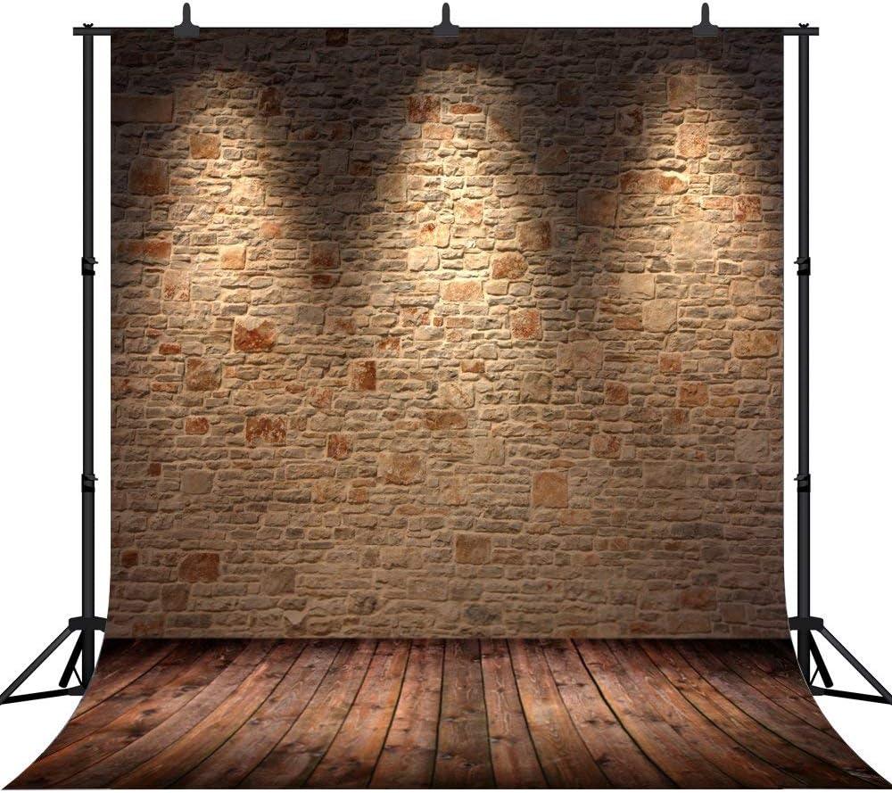 GoHeBe 10X10Ft Seamless Brick Wall and Wooden Floor Vinyl Photography Backdrop Photo Background Studio Prop PGT013B