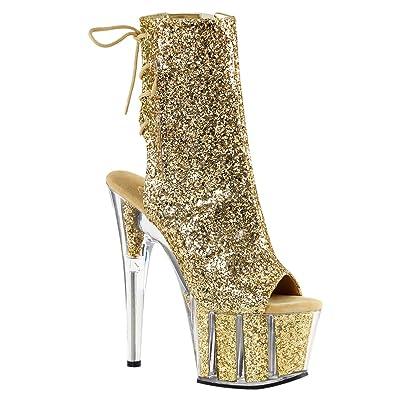 13ffb6484bf Summitfashions Womens Gold High Heels Glitter Boots Open Toe Platform  Booties 7 Inch Heels Size