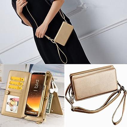 iPhone X Housse Etui Coque Portefeuille pour femme avec bandoulière réglable, iPhone 10, Coque fin amovible avec ID et logement pour carte Dragonne ...