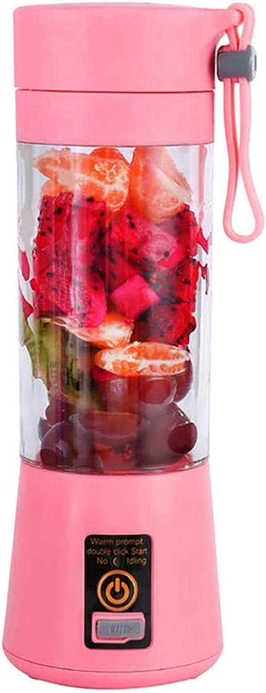 Mini licuadora portátil para el hogar Batidora de batido en el hogar Mini licuadora personal de viaje con baterías recargables USB Mezclador de frutas para el hogar Taza desmontable Rosa-Rosado