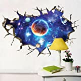 New 3D Interstellar Space View Wall Stickers, SUPPION Removable PVC Art Room Decals Murals Home Decoration-23.62''*35.43''