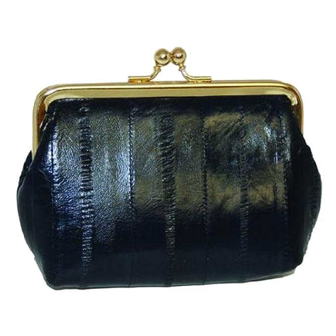 Amazon.com: Piel de anguila cartera cierre # E905, negro, 4 ...