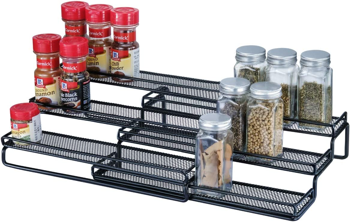 3 Tier Expandable Cabinet Spice Rack Organizer – Step Shelf with Protection Railing 12.5 to 25 W , Black