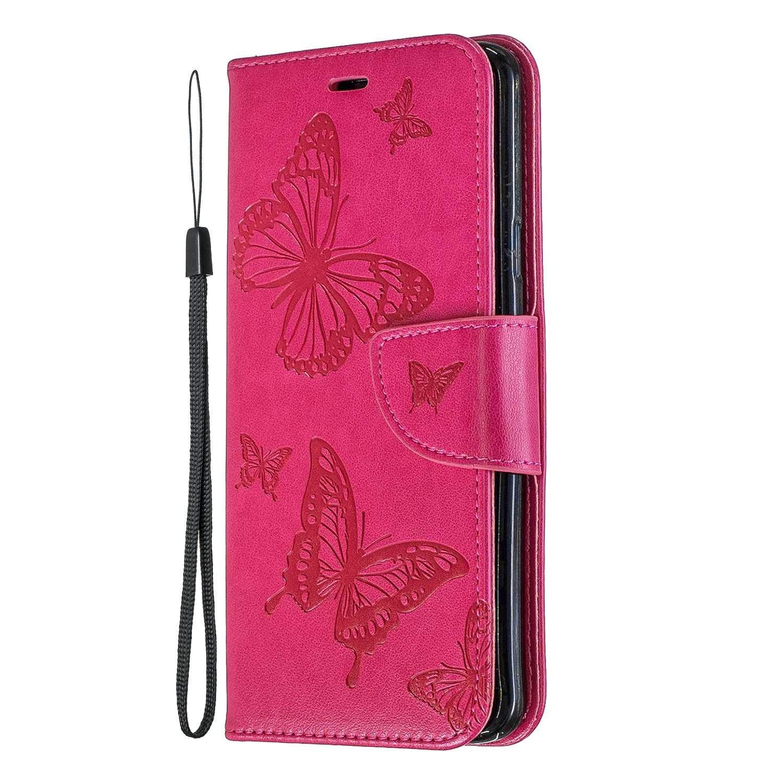 Coque Galaxy S9 Plus, SONWO Cuir PU en Relief Papillon Flip Portefeuille Etui avec La Fonction Stand pour Samsung Galaxy S9 Plus, Rose Rouge