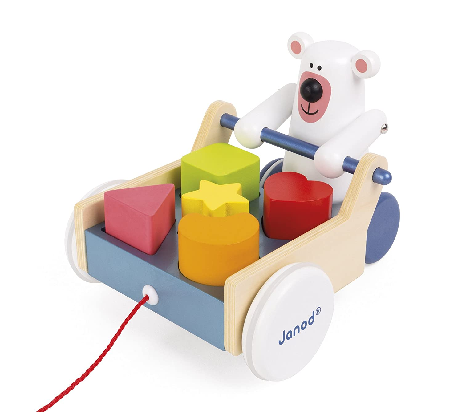 Janod Zigolos Pull Along Shape Box Bear Baby Toy